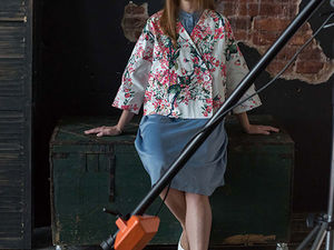 YOKU LOOK: платье-рубашка светлый деним и жакет сакура. Ярмарка Мастеров - ручная работа, handmade.