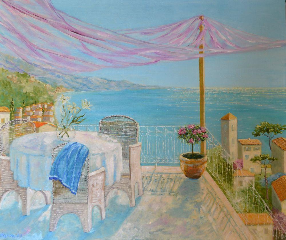 анна кшановская-орлова, картина, послеобеденное время, море, средиземноморский пейзаж, на террасе, отдых, греция, масляная живопись