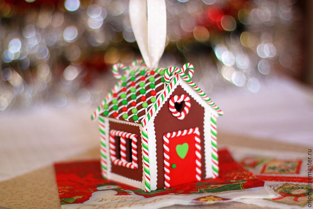 пряничный дом из пластики, как украсить елку