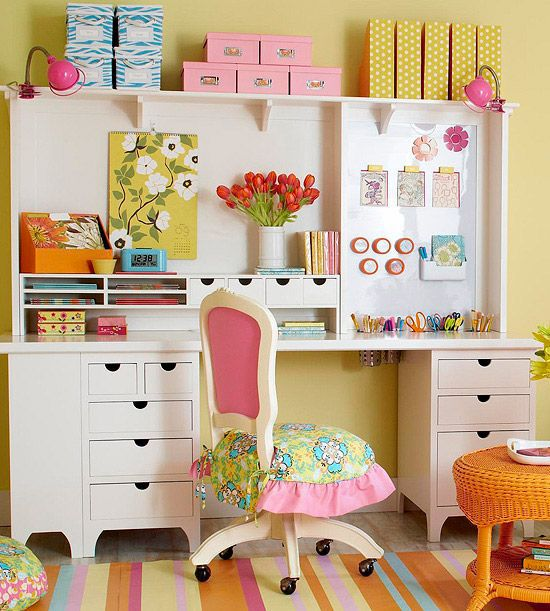 cheery, colorful craft room