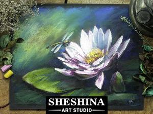 Видеоурок: рисуем стрекозу на цветке лотоса сухой пастелью. Ярмарка Мастеров - ручная работа, handmade.