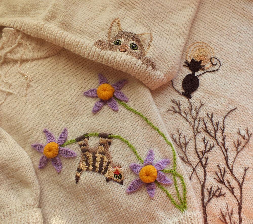 #вязаный свитер, свитер, кот, котенок, свитер спицами, женской свитер, детский свитер, теплый свитер, белый, анонс, новинка, фэмили лук