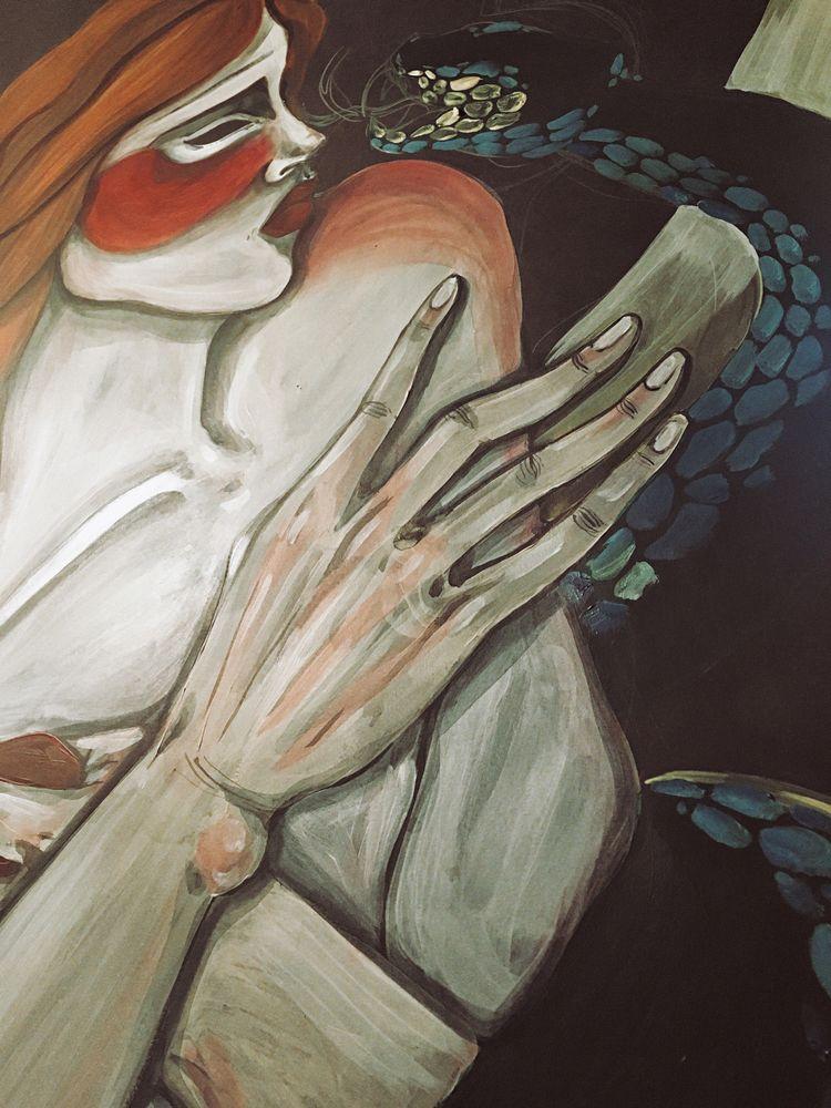 наивное искусство, страсть, змея, рыжая, духовное