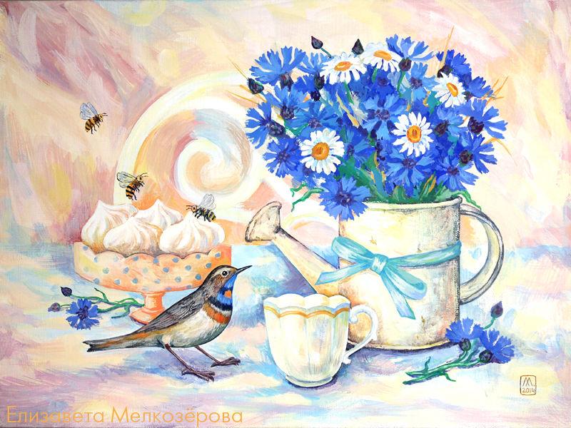картина живопись, васильки лаванда пионы, голубой синий бежевый