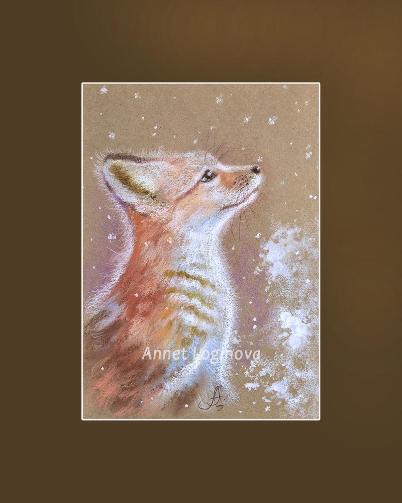 картина пастелью, первый снег, снежный, снежные картины, картина лисенок, лисёнок