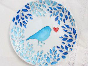 Мои птицы на стекле и керамике | Ярмарка Мастеров - ручная работа, handmade