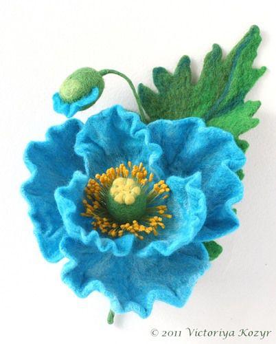 войлок, валяние из шерсти, войлоковаляние, брошь-цветок, мак, аукцион, подарок, украшение