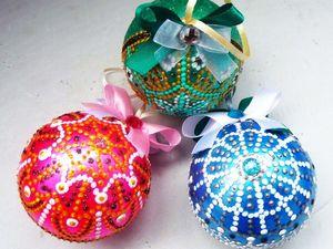 Набор ёлочных шаров с точечной росписью. Ярмарка Мастеров - ручная работа, handmade.