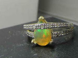 Аукцион! Старт 6000р. Золотое кольцо с Эфиопским опалом и бриллиантами. Ярмарка Мастеров - ручная работа, handmade.