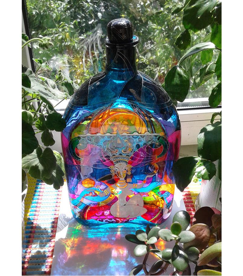 витражная роспись, рисунок на бутылке, бутылка для дома