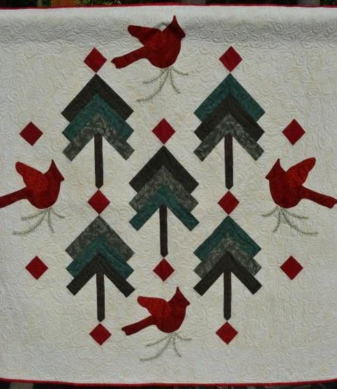 Quilted wall hanging winter Christmas  birds and by raincityquilts, $135.00