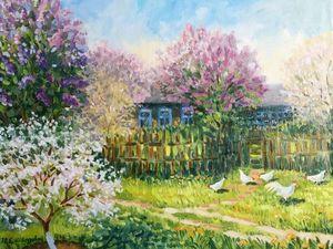 Картина маслом на холсте «Цветущий май» — новинка магазина!. Ярмарка Мастеров - ручная работа, handmade.