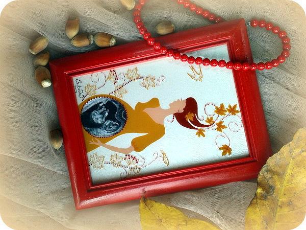 Создаём рамочку для УЗИ «Княжна Осень» в технике росписи по стеклу | Ярмарка Мастеров - ручная работа, handmade