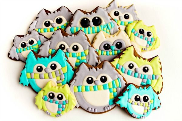 Simple Owl Cookies-In Winter Colors <a href=