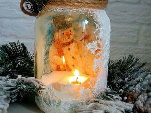 Новогодний подсвечник из обычной стеклянной банки. Ярмарка Мастеров - ручная работа, handmade.