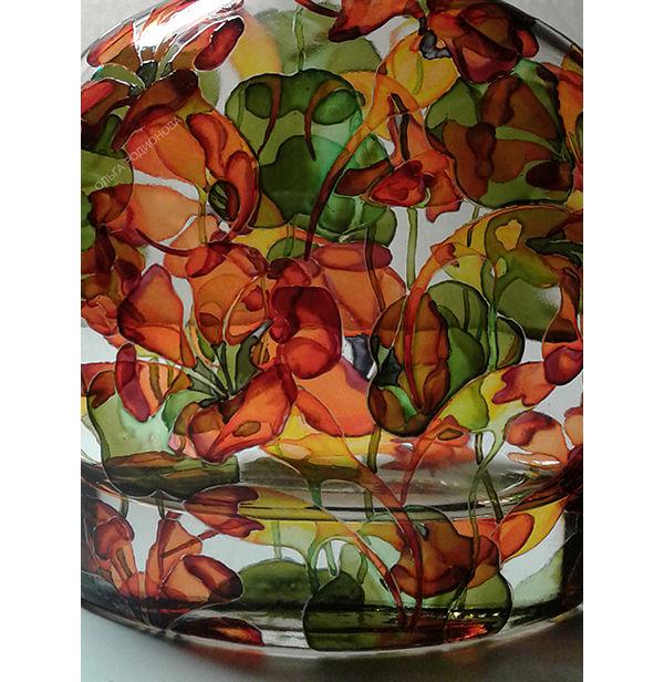 настурции на бутылке, авторская роспись стекла, бутылка с цветами
