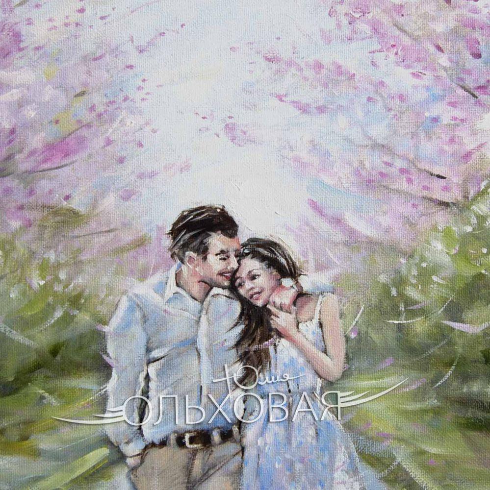 весна, цветы, пара, влюбленные пара, зелень