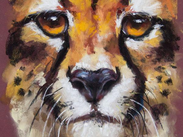Процесс рисования картины сухой пастелью — Гепард | Ярмарка Мастеров - ручная работа, handmade