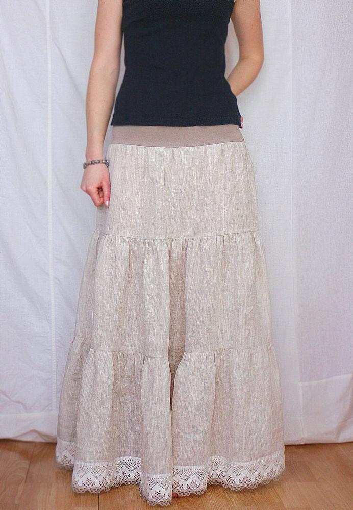 нижняя юбка, льняная юбка, длинная юбка из льна, white flax skirt, white petticoat