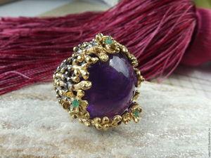 """Скидка 20% кольцо """"Эсмеральда"""" с пурпурным аметистом. Ярмарка Мастеров - ручная работа, handmade."""