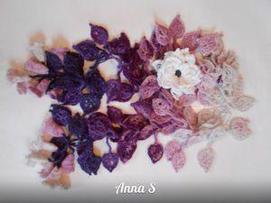 Оригинальные шарфики с мехом норки и кролика или только с вязаными цветами и листями!!!! Предновогощняя распродажа!!   Ярмарка Мастеров - ручная работа, handmade