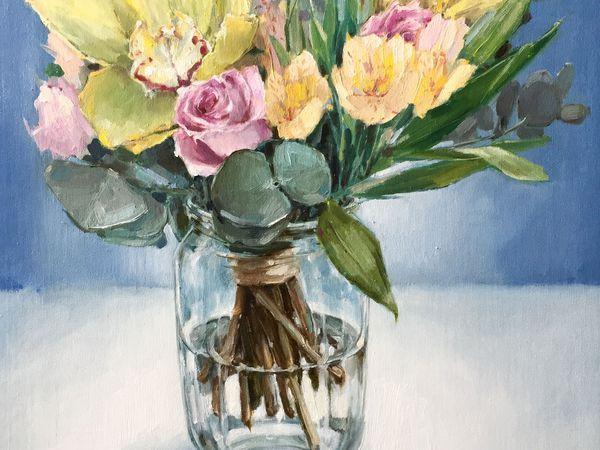 Новая картина маслом ! Букет с орхидеями! | Ярмарка Мастеров - ручная работа, handmade