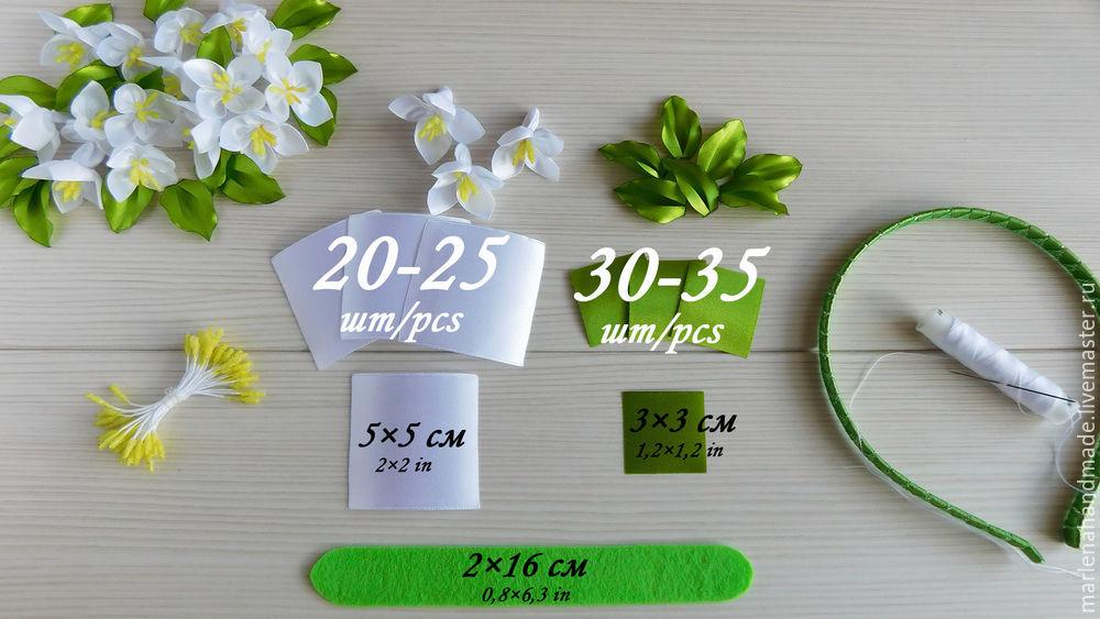 жасмин, ободок с цветами, ободок для волос, канзаши, ободок канзаши, цветок жасмина