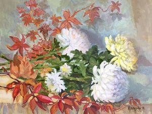 Аукцион прямо сейчас! Картина маслом «Тайна хризантем». Ярмарка Мастеров - ручная работа, handmade.