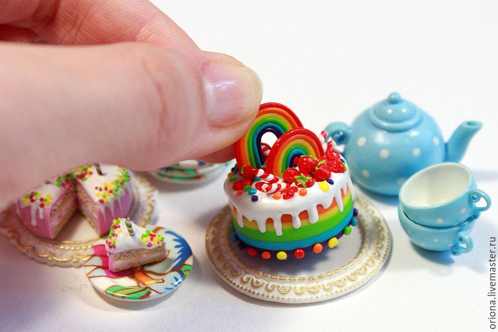 радуга, выпечка, как слепить торт, урок