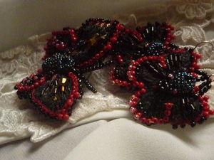 Аукцион на бабочки,вышитые серьги и брошь,чёрно-вишнёвый комплект!. Ярмарка Мастеров - ручная работа, handmade.