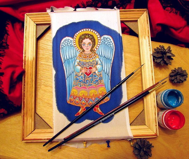 творческий процесс, ольга пастухова, батик, роспись по шёлку, интерьерная кукла, ангел