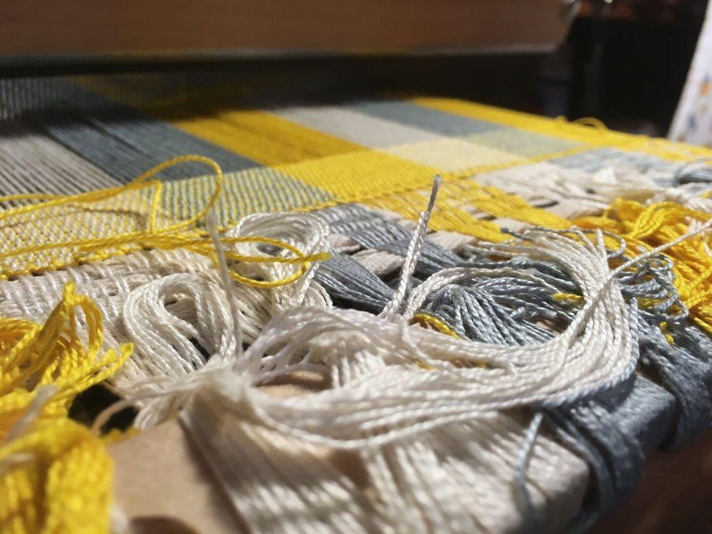 процесс, хлопковый шарф, домоткань