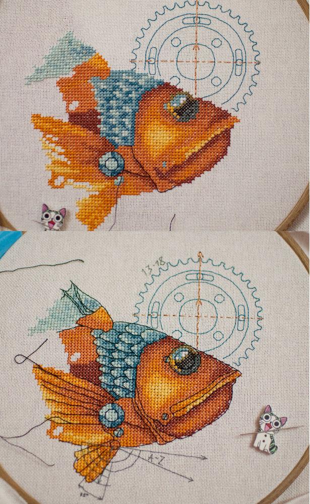 рыба, вышивка крестом
