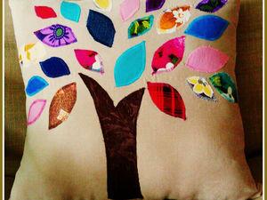 Мастерим декоративную подушку «Радужное дерево» своими руками. Ярмарка Мастеров - ручная работа, handmade.
