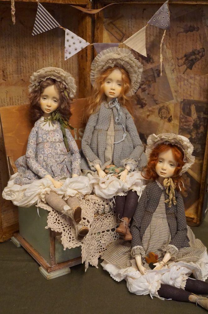 кукла ручной работы, винтажный стиль, капор, рюши