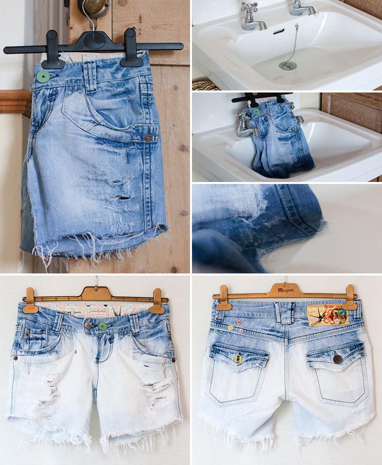 Чем отбелить джинсовую юбку