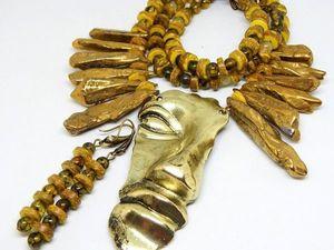"""Крупный комплект """"Золото инков"""". Ярмарка Мастеров - ручная работа, handmade."""