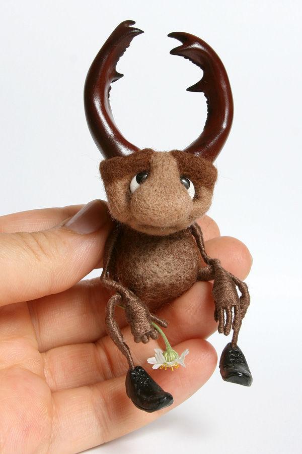 игрушка из шерсти, мастер-класс по валянию, насекомые, жук-олень