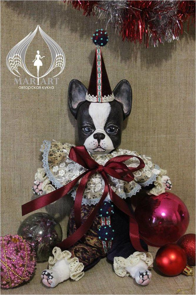 акция, собака, бульдог, клоун, будуарная кукла, подарок на 8 марта, коллекционная кукла, скидка на кукол