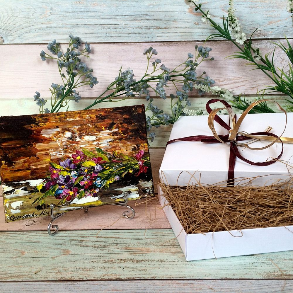 маленькая картина, картина 2в1, подарок девушке, поставить на стол