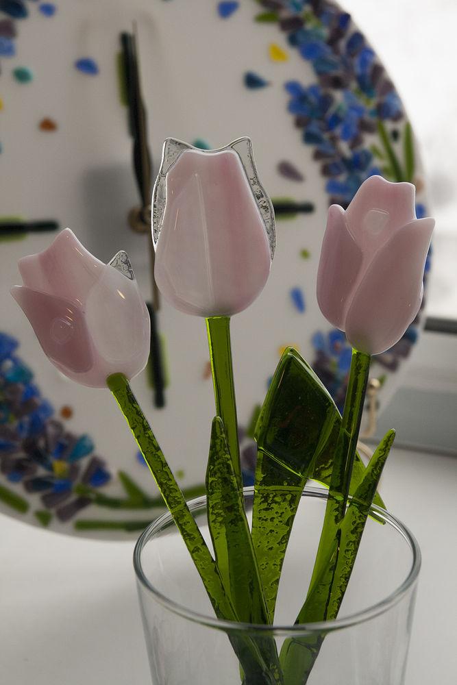 букет цветов, весна, подарок на 8 марта, подарок женщине, фьюзинг, розовые цветы, нежные цветы