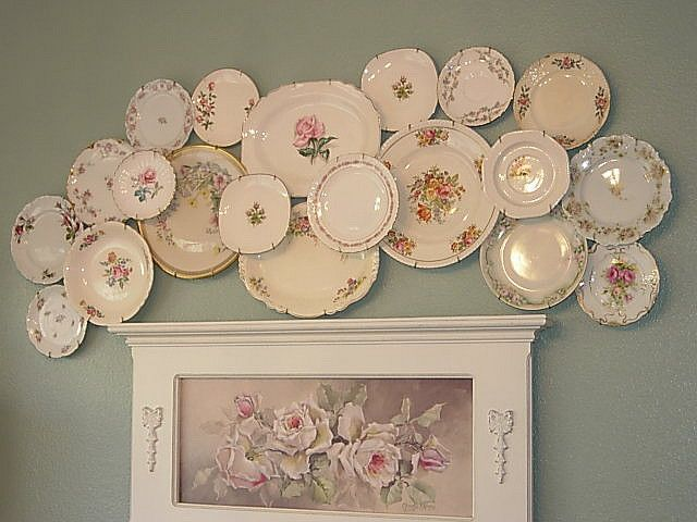 Love this vintage plate collage!  Inspiration.
