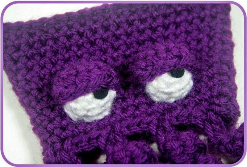 вязание крючком, фиолетовый