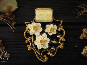 Анонс. Брошь из полимерной глины.Нарцисс. Ярмарка Мастеров - ручная работа, handmade.
