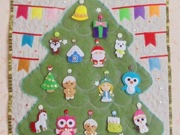 Делаем текстильную ёлочку с игрушками из фетра   Ярмарка Мастеров - ручная работа, handmade