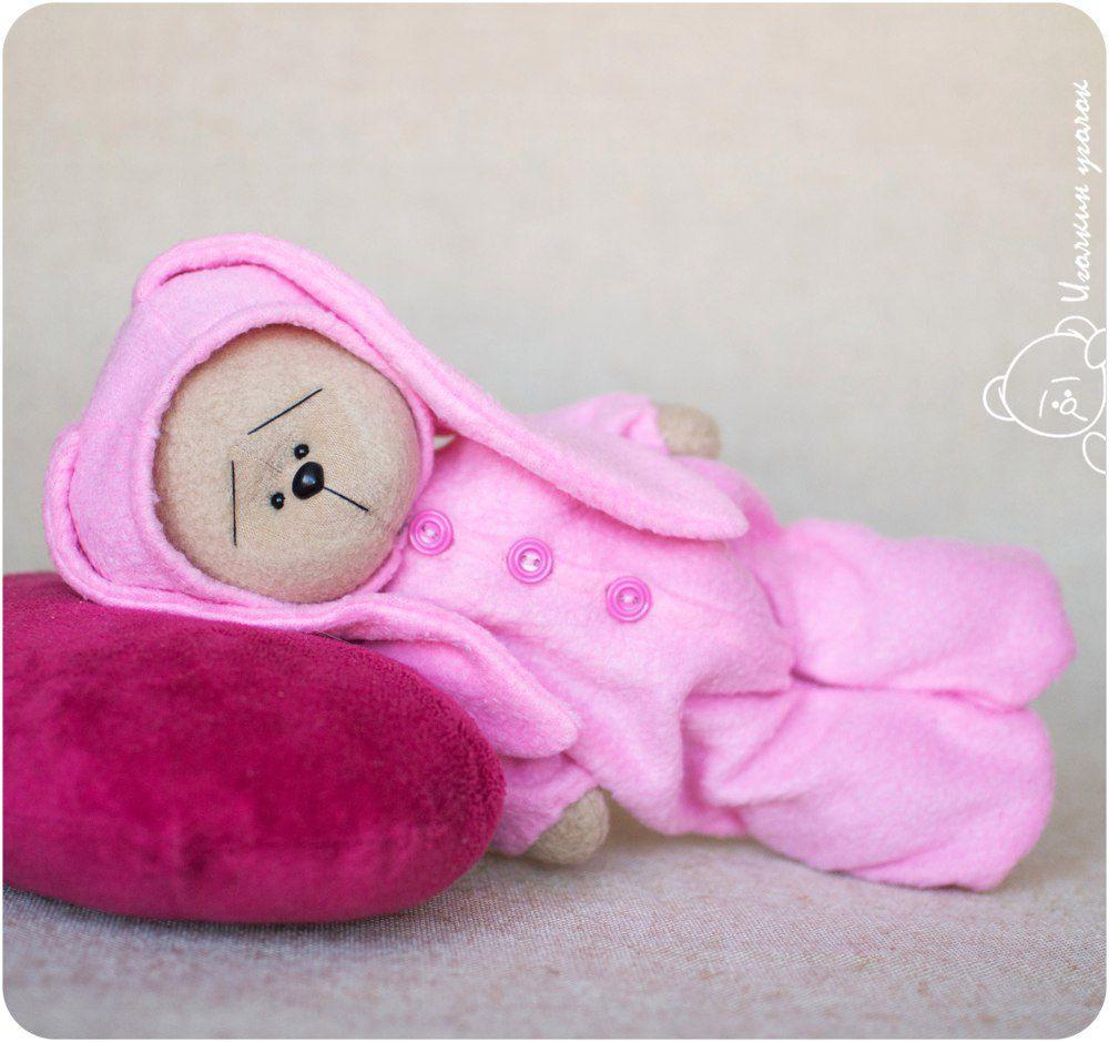 пижама, мишка ручной работы, розовый