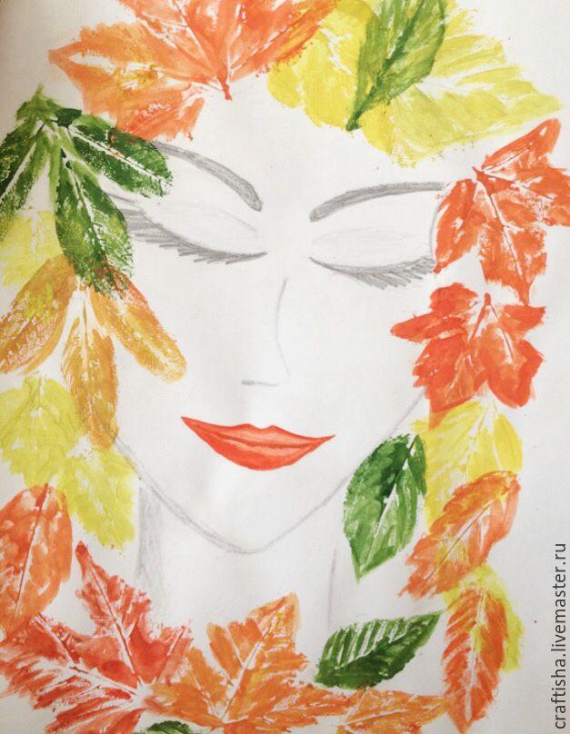 осенний проект, девушка осень, осенний мастер-класс, отпечатки лисьев, рисунок ручной работы