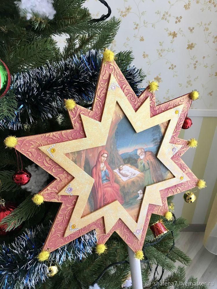 рождественская звезда, рождество, поделки на праздники, звезда из фанеры
