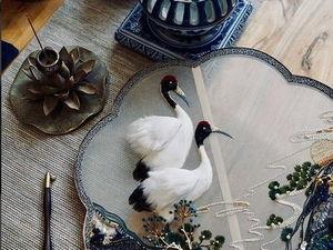 Великолепный вышитый веер с журавлями от японки Jiaran Studio. Ярмарка Мастеров - ручная работа, handmade.