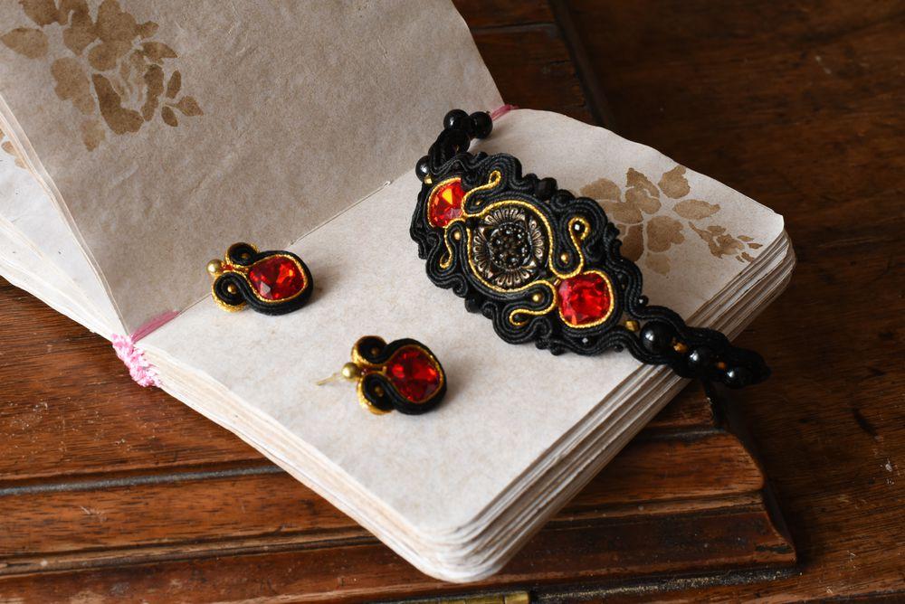 сутажный комплект, черный браслет